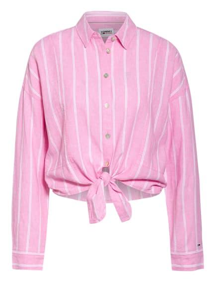 TOMMY JEANS Hemdbluse mit Leinen, Farbe: WEISS/ ROSA (Bild 1)