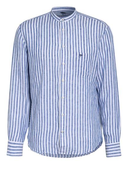 FYNCH-HATTON Leinenhemd Casual Fit mit Stehkragen, Farbe: WEISS/ BLAU (Bild 1)
