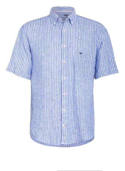 FYNCH-HATTON Kurzarm-Hemd Comfort Fit aus Leinen, Farbe: BLAU/ WEISS (Bild 1)