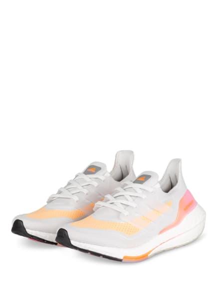 adidas Laufschuhe ULTRABOOST 21, Farbe: HELLGRAU/ HELLORANGE/ ROSA (Bild 1)