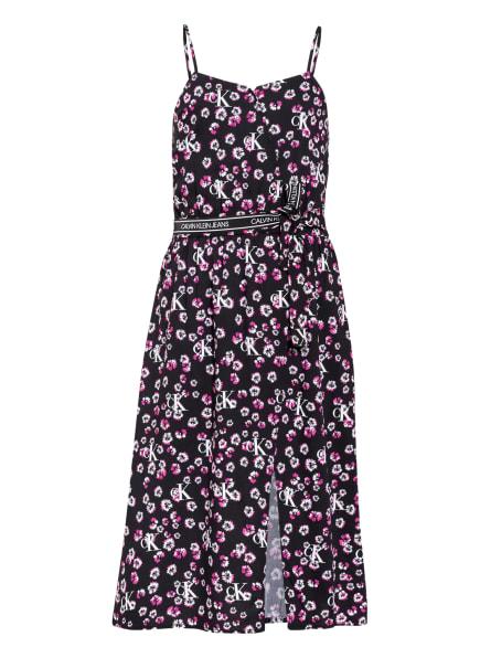 Calvin Klein Kleid in Wickeloptik, Farbe: SCHWARZ/ PINK/ WEISS (Bild 1)