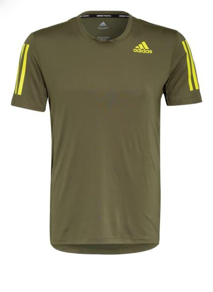 adidas T-Shirt TECHFIT , Farbe: OLIV/ NEONGELB (Bild 1)