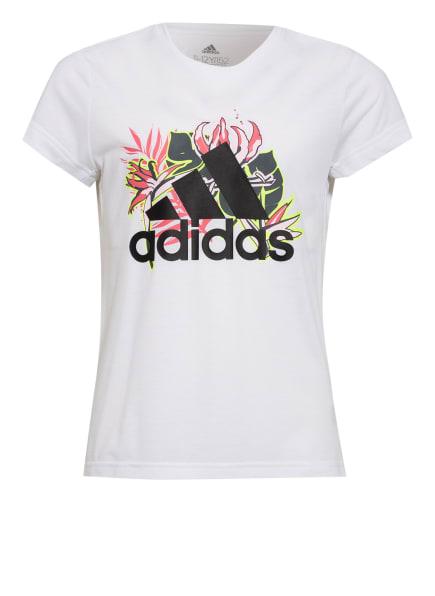 adidas T-Shirt, Farbe: WEISS/ SCHWARZ/ DUNKELROT (Bild 1)