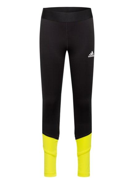 adidas Tights XFG PRIMEBLUE AEROREADY, Farbe: SCHWARZ/ WEISS/ NEONGELB (Bild 1)