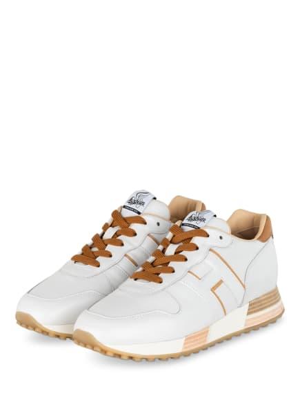 HOGAN Plateau-Sneaker H383, Farbe: WEISS/ CAMEL (Bild 1)