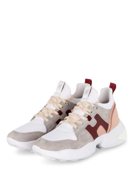 HOGAN Plateau-Sneaker INTERACTION, Farbe: WEISS/ GRAU/ DUNKELROT (Bild 1)