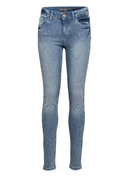 GUESS Jeans Skinny Fit mit Schmucksteinbesatz, Farbe: BLAU (Bild 1)