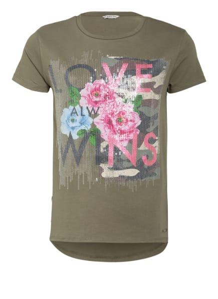 GUESS T-Shirt mit Paillettenbesatz, Farbe: OLIV/ ROSA/ BLAU (Bild 1)