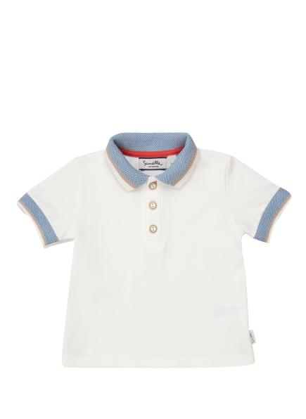 Sanetta FIFTYSEVEN Piqué-Poloshirt, Farbe: WEISS/ HELLBLAU/ BEIGE (Bild 1)