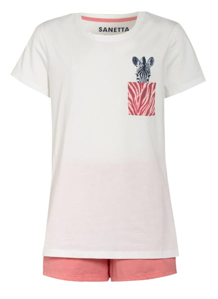 Sanetta Shorty-Schlafanzug, Farbe: WEISS/ ROSA (Bild 1)