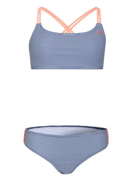 Sanetta Bustier-Bikini mit UV-Schutz, Farbe: DUNKELBLAU/ WEISS (Bild 1)