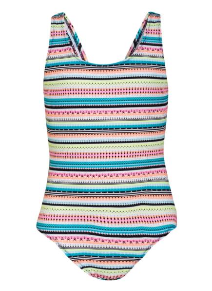 Sanetta Badeanzug mit UV-Schutz, Farbe: WEISS/ NEONGELB/ NEONORANGE (Bild 1)
