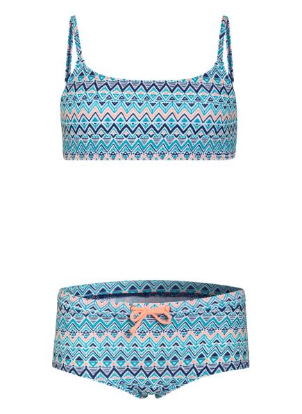 Sanetta Bustier-Bikini mit UV-Schutz, Farbe: WEISS/ TÜRKIS/ ORANGE (Bild 1)