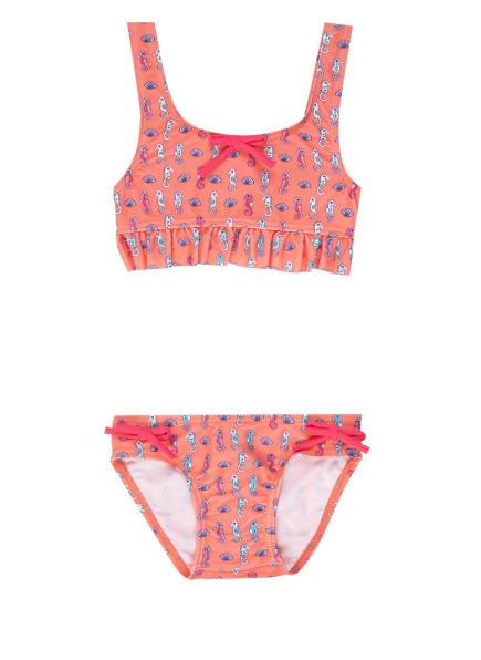 Sanetta Bustier-Bikini mit UV-Schutz 50+, Farbe: LACHS/ BLAU/ PINK (Bild 1)