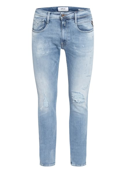 REPLAY Destroyed Jeans ANBASS Slim Fit, Farbe: 010 LIGHT BLUE (Bild 1)