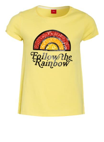 s.Oliver RED T-Shirt mit Paillettenbesatz, Farbe: GELB (Bild 1)