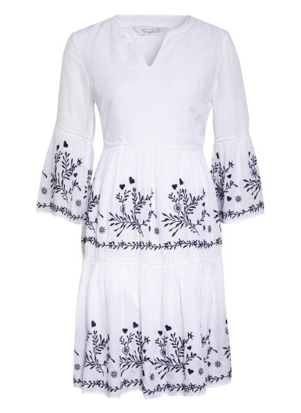 FrogBox Kleid mit 3/4-Arm und Stickereien, Farbe: WEISS/ SCHWARZ (Bild 1)