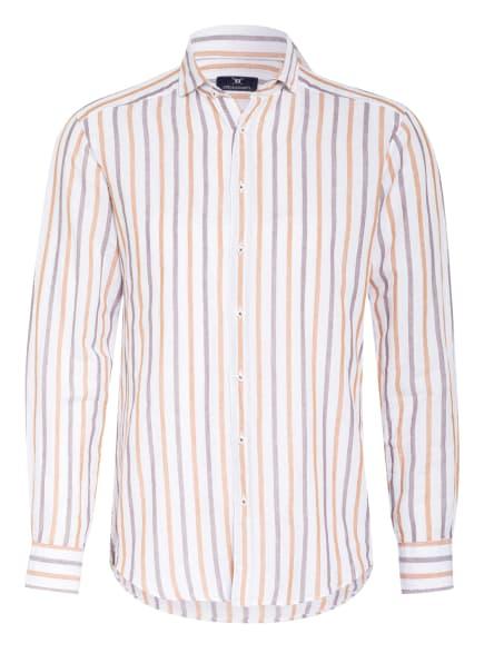 STROKESMAN'S Hemd Regular Fit mit Leinen , Farbe: WEISS/ COGNAC/ DUNKELBRAUN (Bild 1)