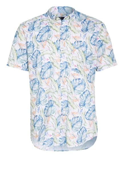 STROKESMAN'S Kurzarm-Hemd Regular Fit mit Leinen, Farbe: WEISS/ HELLGRÜN/ BLAU (Bild 1)