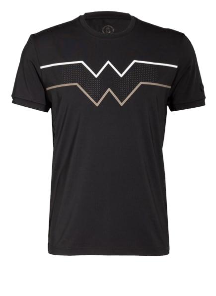 BOGNER T-Shirt AVINO mit Mesh-Einsatz, Farbe: SCHWARZ/ WEISS/ CAMEL (Bild 1)