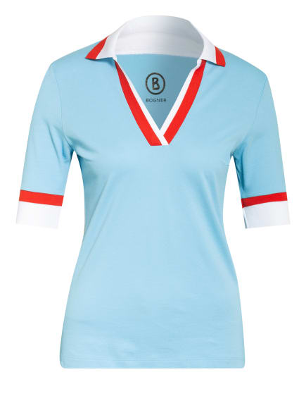 BOGNER Piqué-Poloshirt FIDA, Farbe: HELLBLAU/ WEISS/ ROT (Bild 1)