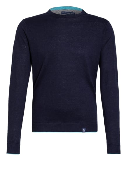 COLOURS & SONS Pullover RONALD mit Leinen, Farbe: DUNKELBLAU (Bild 1)