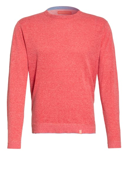 COLOURS & SONS Pullover RONALD mit Leinen, Farbe: ROT/ HELLROT (Bild 1)
