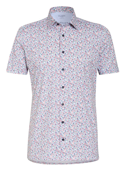 OLYMP Kurzarm-Hemd Luxor 24/7 modern fit aus Jersey, Farbe: WEISS/ BLAU/ ROT (Bild 1)