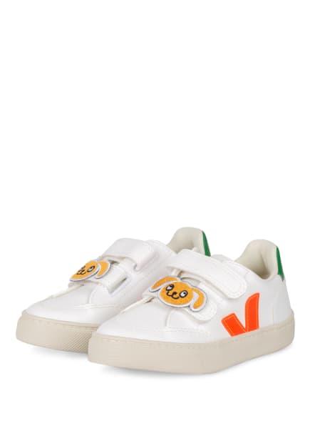 VEJA Sneaker VELCRO, Farbe: WEISS/ NEONROT/ DUNKELGRÜN (Bild 1)