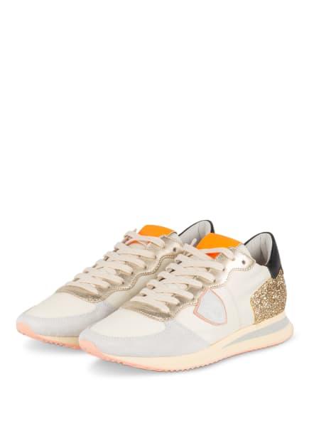 PHILIPPE MODEL Plateau-Sneaker TRPX, Farbe: ECRU/ HELLGRAU/ GOLD (Bild 1)