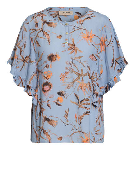 MOS MOSH Blusenshirt TARA mit Volantbesatz, Farbe: BLAUGRAU/ LACHS/ CAMEL (Bild 1)