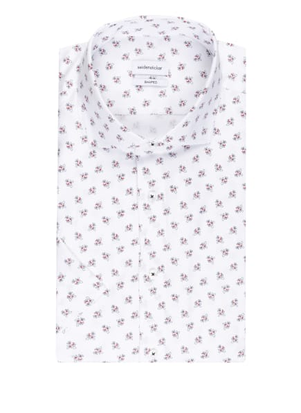 seidensticker Kurzarm-Hemd Shaped Fit, Farbe: WEISS/ SCHWARZ/ ROT (Bild 1)