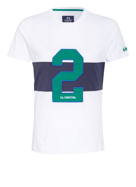LA MARTINA T-Shirt, Farbe: WEISS/ DUNKELBLAU/ GRÜN (Bild 1)