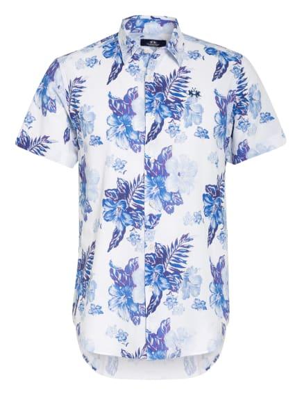 LA MARTINA Kurzarm-Hemd Regular Fit mit Leinen, Farbe: WEISS/ BLAU (Bild 1)