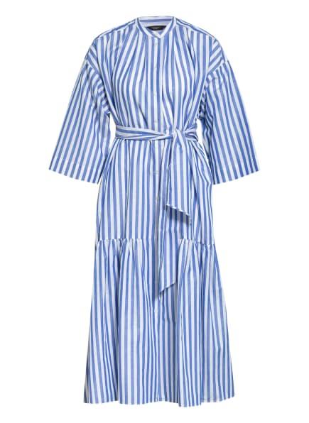 WEEKEND MaxMara Hemdblusenkleid VERRES mit 3/4-Arm und Leinen, Farbe: WEISS/ HELLBLAU (Bild 1)