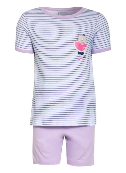 SCHIESSER Shorty-Schlafanzug CAT ZOE, Farbe: HELLLILA/ MINT/ WEISS (Bild 1)