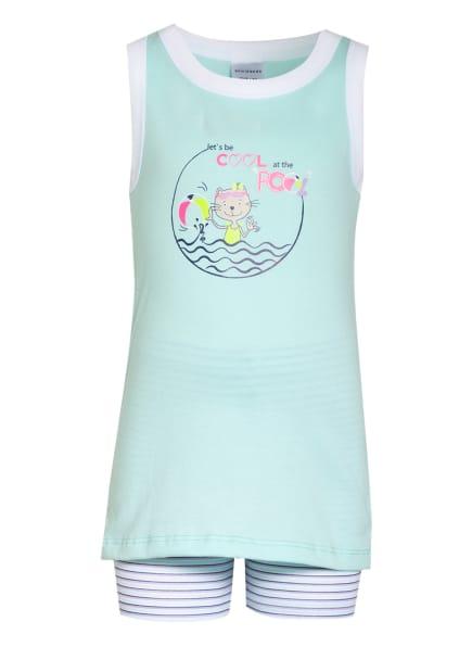 SCHIESSER Shorty-Schlafanzug CAT ZOE, Farbe: MINT/ HELLLILA/ WEISS (Bild 1)