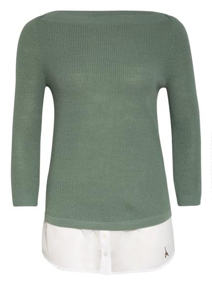 PATRIZIA PEPE Pullover im Materialmix, Farbe: HELLGRÜN/ WEISS (Bild 1)