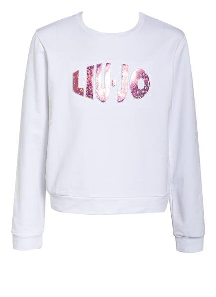 LIU JO Sweatshirt mit Schmucksteinbesatz, Farbe: WEISS (Bild 1)