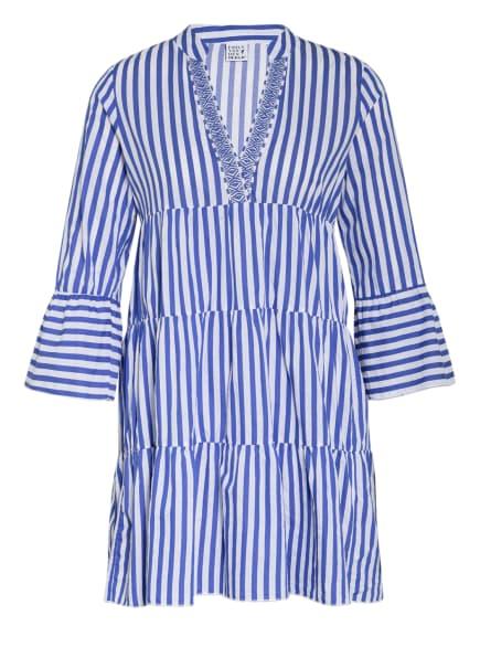 Emily Kleid mit 3/4-Arm, Farbe: WEISS/ BLAU (Bild 1)