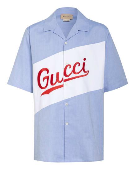 GUCCI Halbarm-Hemd mit Stickereien, Farbe: HELLBLAU/ WEISS/ ROT (Bild 1)