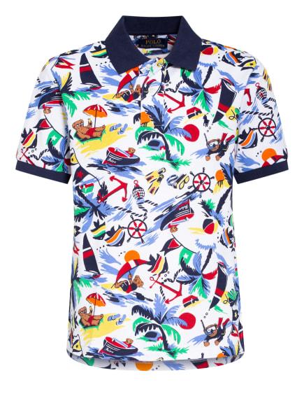 POLO RALPH LAUREN Piqué-Poloshirt, Farbe: WEISS/ HELLBLAU/ DUNKELBLAU (Bild 1)