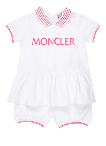 MONCLER enfant Set: Piqué-Kleid mit Schößchen und Piqué-Hose, Farbe: 002 WEISS (Bild 1)