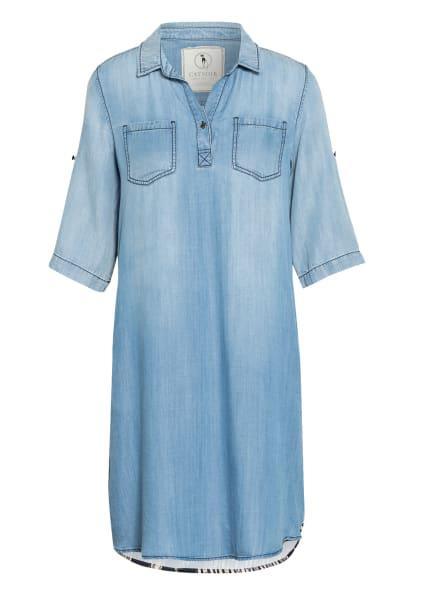 CATNOIR Jeanskleid im Materialmix , Farbe: HELLBLAU/ SCHWARZ/ GELB (Bild 1)