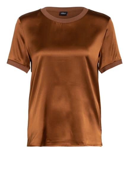 s.Oliver BLACK LABEL Blusenshirt im Materialmix, Farbe: BRAUN (Bild 1)