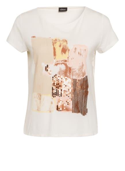 s.Oliver BLACK LABEL T-Shirt mit Paillettenbesatz, Farbe: ECRU (Bild 1)