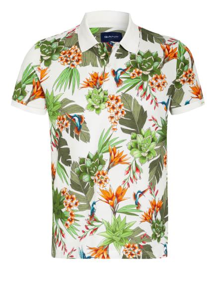 GANT Piqué-Poloshirt, Farbe: WEISS/ OLIV/ ORANGE (Bild 1)