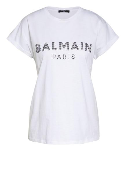 BALMAIN T-Shirt mit Schmucksteinbesatz, Farbe: WEISS (Bild 1)