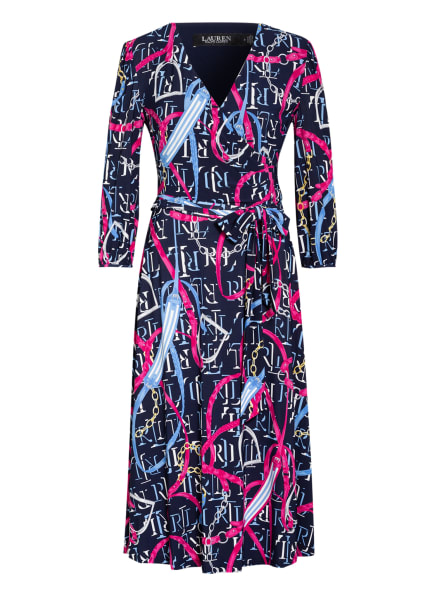 LAUREN RALPH LAUREN Jerseykleid CARLYNA mit 3/4-Arm, Farbe: DUNKELBLAU/ FUCHSIA/ HELLBLAU (Bild 1)