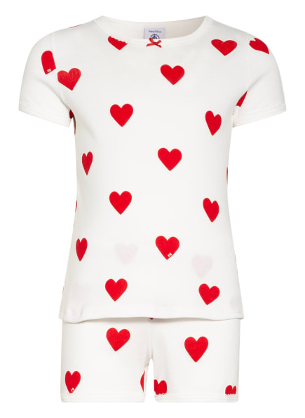 PETIT BATEAU Shorty-Schlafanzug, Farbe: WEISS/ DUNKELROT (Bild 1)